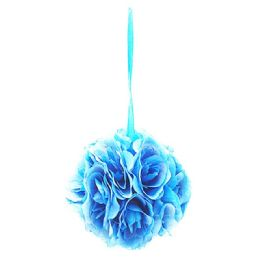 36 of Six Inch Pom Flower Silk Tiffany Blue