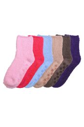 120 of Solid Color Ladies' Fuzzy Socks With Anti Skid Assorted