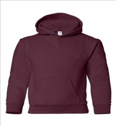 24 of Youth Gildan Irregular Maroon Color Hooded Pullover, Size Small