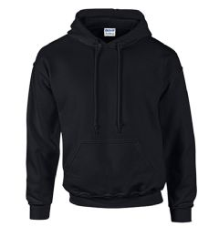 24 of Unisex Gildan Irregular Black Hooded Sweatshirt, Size L