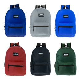 """24 of 17"""" Kids Classic Backpack In 6 Solid Colors"""