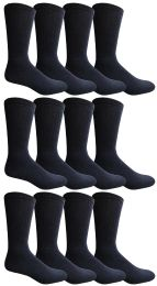 12 of Yacht & Smith King Size Men's Cotton Terry Cushioned Crew Socks Size 13-16 Navy