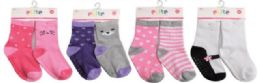 144 of Toddler Girls Crew Socks Size 12-24 Moths With Gripper Bottoms