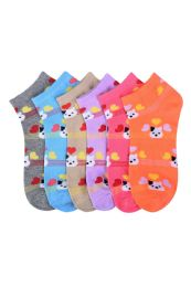 432 of Girls Printed Casual Spandex Ankle Socks Size 9-11 Mini Cats