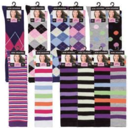 120 of Womens 9-11 Assorted Color And Prints Knee High Uniform Socks