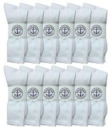 12 of Yacht & Smith King Size Men's Cotton Terry Cushion Crew Socks, Sock Size 13-16 White