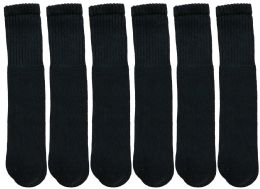 6 of Yacht & Smith Women's Cotton Tube Socks, Referee Style, Size 9-15 Solid Black 22inch