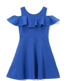 6 of Girls Royal Blue Soft And Stretchy Neoprene Dress, Size 4-6x