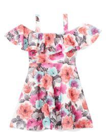 6 of Girls Fuchsia Flower Print Dress In Size 7-14
