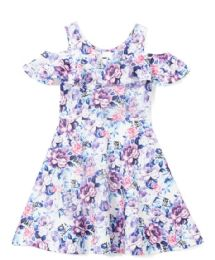6 of Girls Lilac Flower Print Dress In Size 7-14