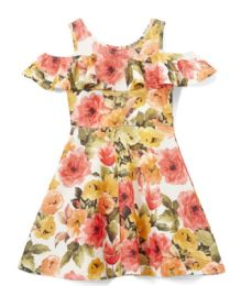 6 of Girls Coral Flower Print Dress In Size 7-14