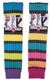 60 of Women's Over The Knee Rainbow Stripe Socks