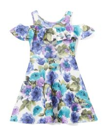 6 of Girls Teal Flower Print Dress In Size 4-6x