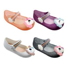 48 of Girls Unicorn Mary Jane Shoes Assorted
