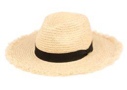 12 of Raffia Straw Raw Edge Panama Hats With Black Band