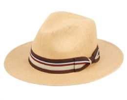 12 of Woven Paper Straw Panama Hats With Stripe Band