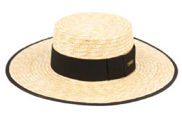 12 of Braid Natural Straw Boater Hats With Fabric Edge