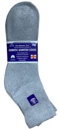 24 of Yacht & Smith Men's King Size Loose Fit NoN-Binding Cotton Diabetic Ankle Socks,gray Size 13-16