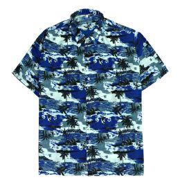 12 of Men's Hawaiian Navy Blue Shirt Plus Size, Size 2xL-4xl