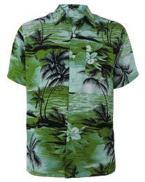 12 of Men's Hawaiian Green Shirt Plus Size, Size 2xL-4xl