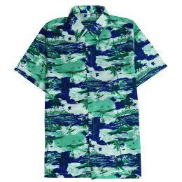 12 of Men's Hawaiian Pistachio Green Shirt Plus Size, Size 2xL-4xl