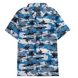 12 of Men's Light Blue Motorcycle Print Shirt Plus Size ,size 2xL-4xl