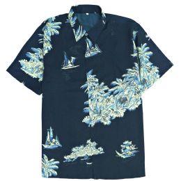 12 of Men's Blue/black Hawaiian Print Shirt ,S-2xl