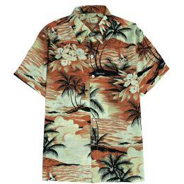 12 of Men's Orange Hawaiian Print Shirt Plus Size ,size 2xL-4xl