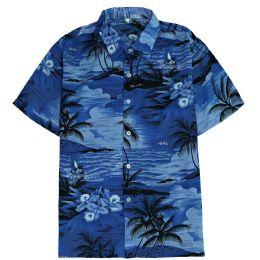 12 of Men's Blue Hawaiian Print Shirt Size S-2xl