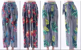 72 of Women's Printed Palazzo Pants W/ Belt
