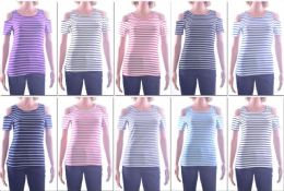 72 of Women's Striped Open Shoulder Top