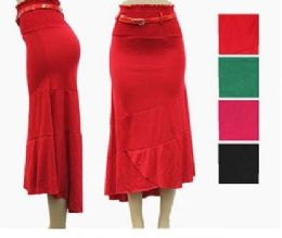 48 of Women's High Low Fitted Skirt With Belt