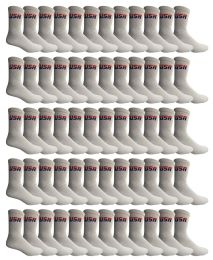 72 of Yacht & Smith Men's Cotton Terry Cushioned Crew Socks White Usa, Size 10-13