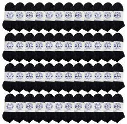 48 of Yacht & Smith Kids No Show Ankle Socks Size 6-8 Black