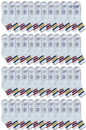 48 of Yacht & Smith Men's King Size Cotton Sport Ankle Socks Size 13-16 With Stripes