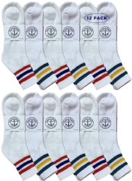 12 of Yacht & Smith Men's King Size Cotton Sport Ankle Socks Size 13-16 With Stripes
