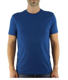 6 of Mens Cotton Crew Neck Short Sleeve T-Shirts Solid Blue, Small