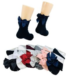 36 of Ladies Fashion Socks Rolled Top With Bow
