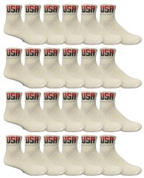 24 of Yacht & Smith Men's King Size Cotton Sport Ankle Socks Size 13-16 Usa White