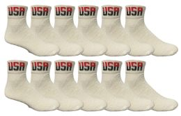 12 of Yacht & Smith Men's King Size Cotton Sport Ankle Socks Size 13-16 Usa White