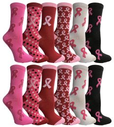 60 of Yacht & Smith Printed Breast Cancer Awareness Socks, Pink Ribbon Women Crew Socks