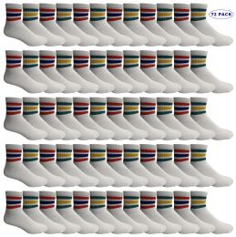 72 of Yacht & Smith Men's King Size Cotton Sport Ankle Socks Size 13-16 With Stripes