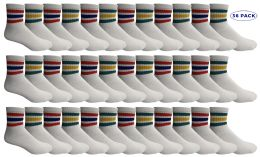 36 of Yacht & Smith Men's King Size Cotton Sport Ankle Socks Size 13-16 With Stripes