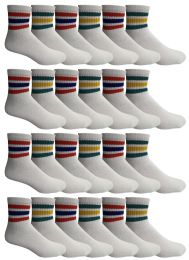 24 of Yacht & Smith Men's King Size Cotton Sport Ankle Socks Size 13-16 With Stripes