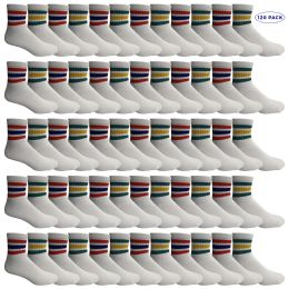 120 of Yacht & Smith Men's King Size Cotton Sport Ankle Socks Size 13-16 With Stripes