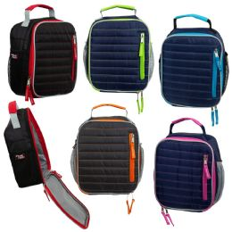 "24 of 10"" Insulated Vertical Quilted Lunch Cooler In 5 Assorted Colors"
