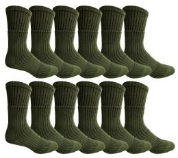 12 of Yacht & Smith Military Grade Wick Dry Crew Socks ,heavy Duty Boot Sock, Army Green