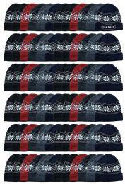 144 of Yacht & Smith Unisex Snowflake Fleece Lined Winter Beanie 6 Colors