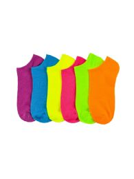 216 of Girls Neon Spandex Ankle Socks Size 4-6