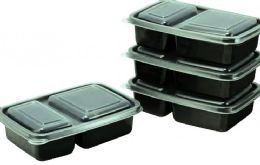 6 of 4 Pack Large 2 Section Containers Set With Lids